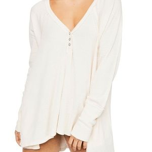 Free People Citrine Textured Cotton Blend Top M
